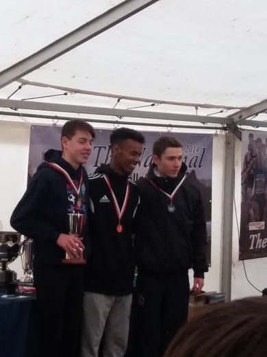 u15 boys national cross country champs, Donnington park, 27th Feb.Lachlan Wellington bronze medalist