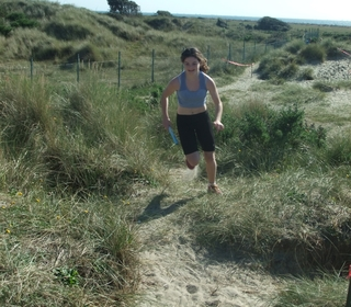 Here comes Amelia Spry - a sprinter for sure - even in the soft sand!!
