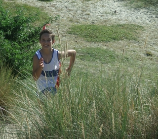 Jensen showing good form over the dunes.