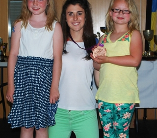 Star performers, Rosa-May and Matilda who sang during the Awards Evening interval, seen here with Olivia Breen. awards