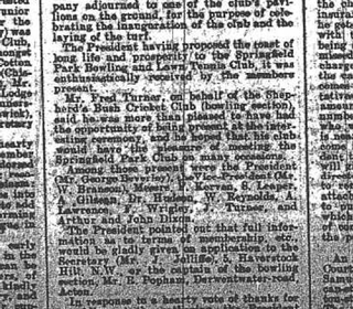 Press cutting from when the club was founded over in Lynton Road