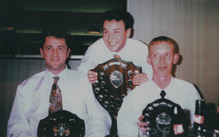 Trophy winners circa 1994/5: (from left: Dave Johnson, Jimmy Barrett, Willie McKechnie)