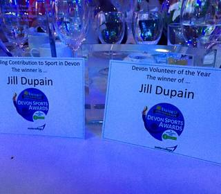 Jill Dupain's Awards:  1. Outstanding Contribution to Sport in Devon &   2. Devon Volunteer of the Year