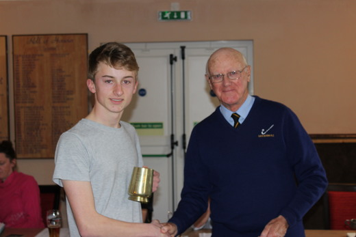 Geoff Tolcher presents the 'Tolcher Tankard' to Tom Gale